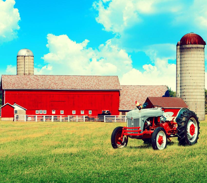Farm Tractor and Silo